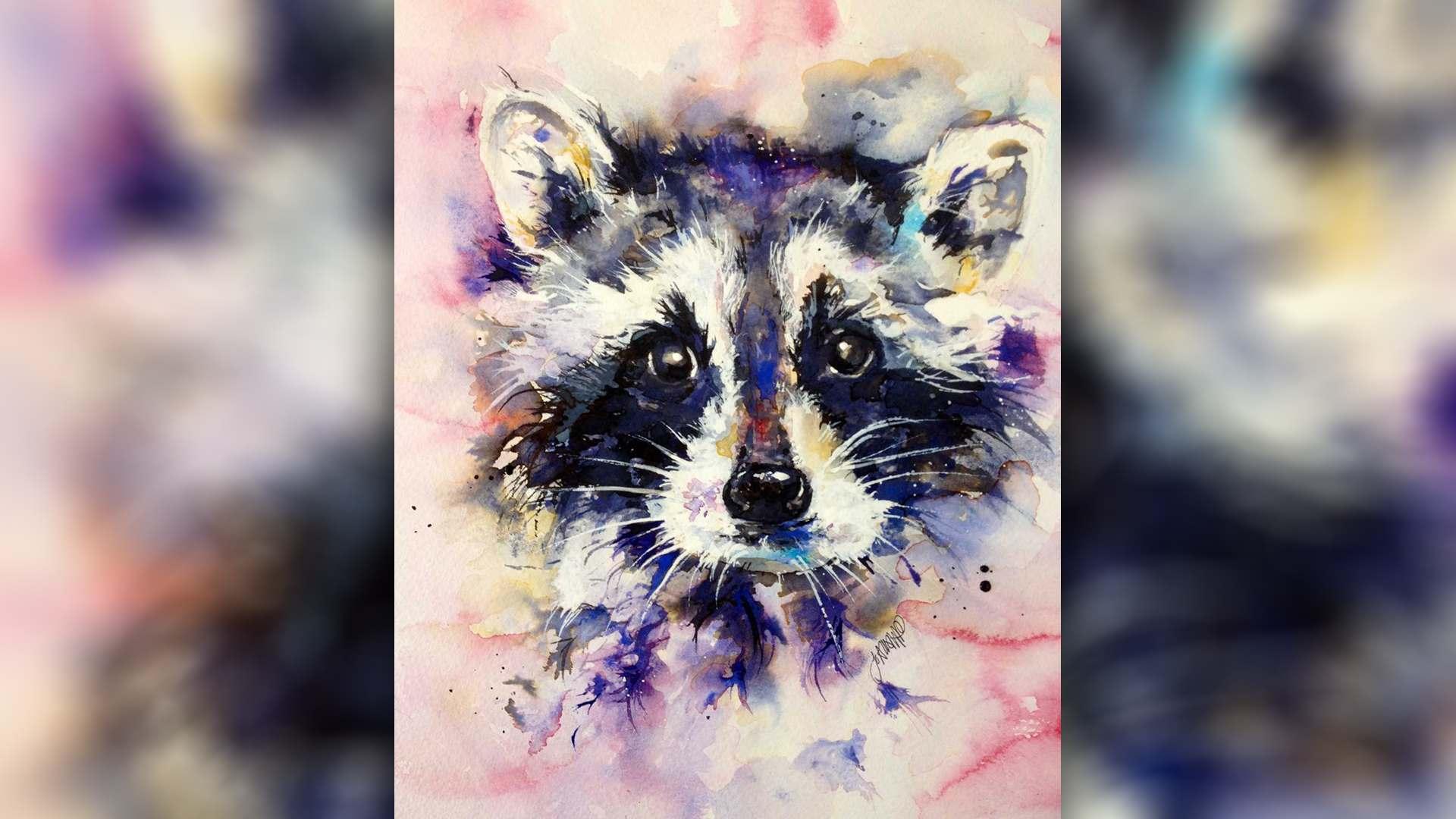 SAA Live – Jo Allsopp Workshop – Racoon in Watercolour & Ink