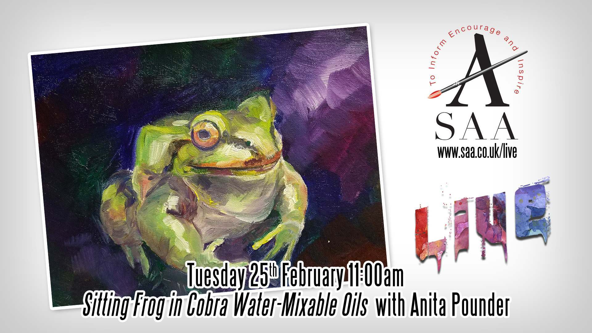 Live with Anita Pounder – Sitting Frog in Cobra Watermixable Oils