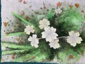 Paint negatively to fill in the darks around the flowers