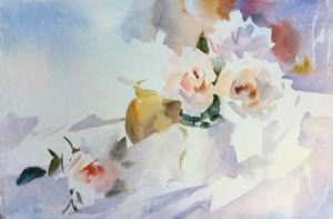 Keep the bottom left rose  soft by painting with a gentle wash, only until you see the flower appearing – the viewer will do the rest.