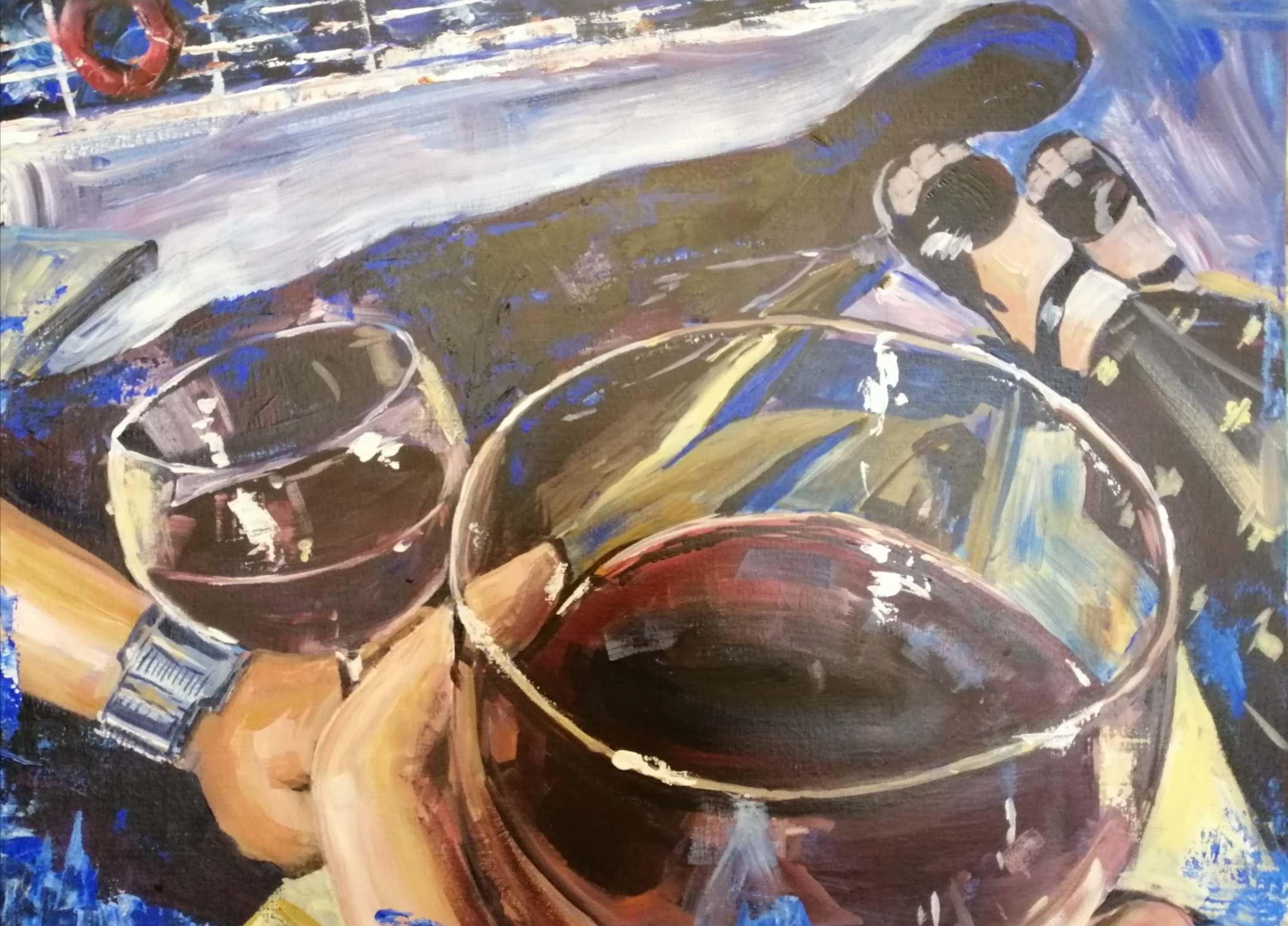 Mulled wine & hot chocolate, ORIGINAL art sale. Marilyn Allis