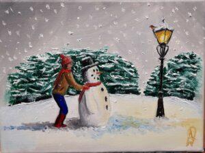 Snowman by Lamp light
