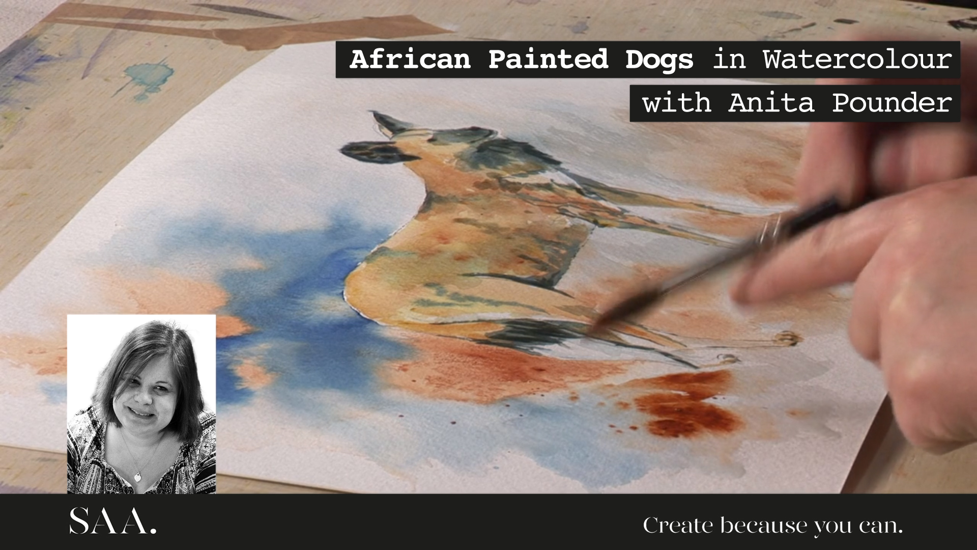 Live with Anita – African Painted Dog in Watercolour