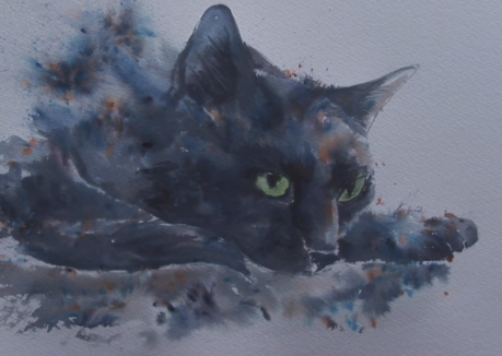 Live with Anita Pounder – Black Cat in Brusho and with Pen Spray Bottles