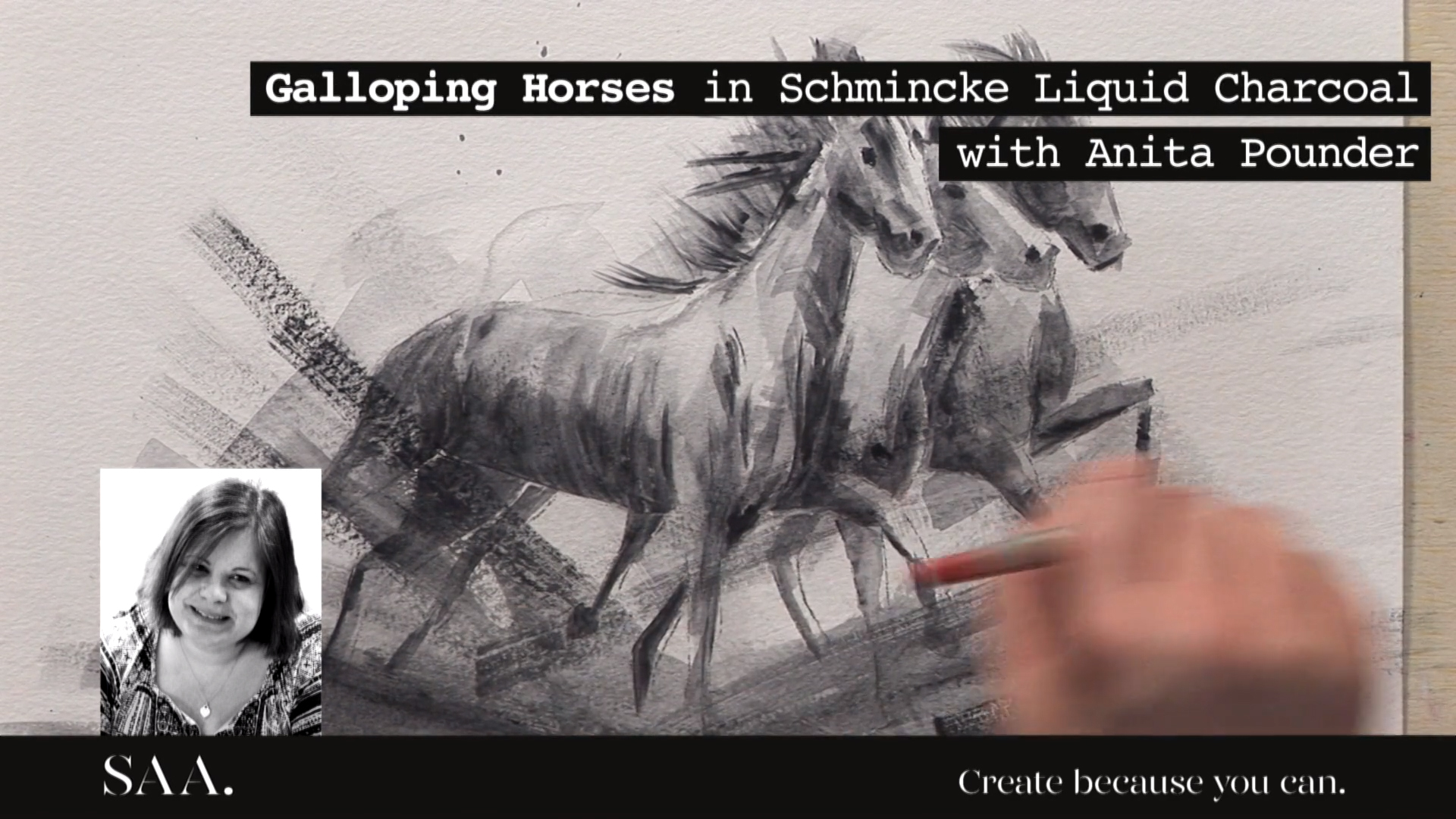 Tuition – Galloping Horses In Schmincke Liquid Charcoal With Anita Pounder