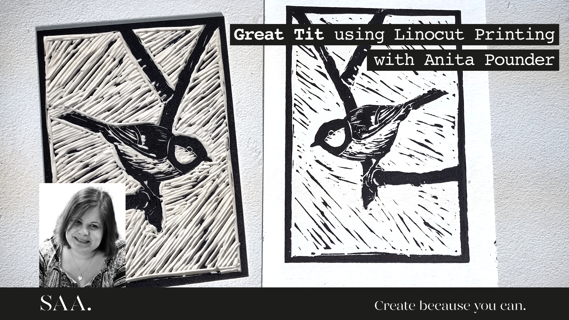 Tuiton – Great Tit using Linocut Print with Anita Pounder